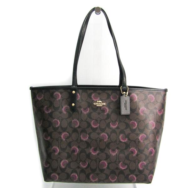Coach Signature Reversible City Moon Print F89155 Women's Coated Canvas,Leather Tote Bag Black,Dark Brown,Purple