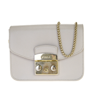 Furla Metropolis 2WAY Chain Leather Shoulder Bag Beige