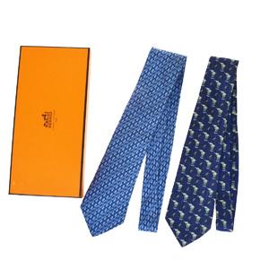 エルメス(Hermes) 2セット ネクタイ シルク ブルー