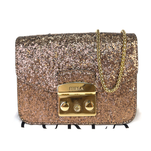 Furla Metropolis 2WAY Chain Leather Shoulder Bag Bronze Lamé