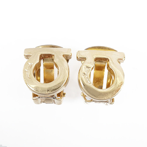 Auth Salvatore Ferragamo earrings Gancini GP plating gold color clip earrings Made in Italy