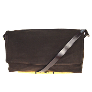 Fendi Felt,Leather Shoulder Bag Brown