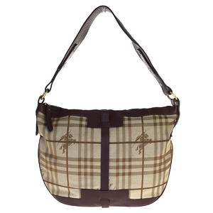 Burberry Nova Check Canvas,Leather Shoulder Bag Brown
