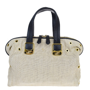 Fendi Chameleon Linen,Leather Handbag Beige