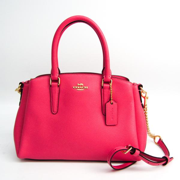 Coach Luxury Cross Grain Leather Mini Sage Carryall F28977 Women's Leather Handbag,Shoulder Bag Pink