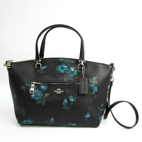 Coach Victorian Floral Print Prairie Satchel F80004 Women's Leather Handbag,Shoulder Bag Black,Blue,Green