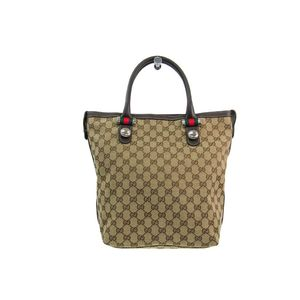 Gucci Sherry Line Women's GG Canvas Leather Tote Bag Beige,Brown