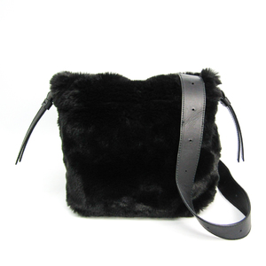 Furla Women's Fur,Leather Shoulder Bag Black