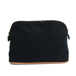 Hermes Bolide MM Women's Cotton,Leather Pouch Black