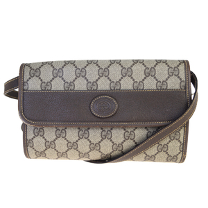 Gucci 2WAY GG Pattern Interlocking PVC,Leather Shoulder Bag Brown
