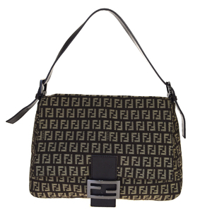 Fendi Zucca Mamma Bucket Canvas,Leather Shoulder Bag Brown