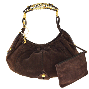 Yves Saint Laurent Mombasa Suede Shoulder Bag Brown