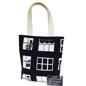 Chanel CClogo Canvas Tote Bag Black