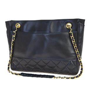 Chanel Chain Leather Shoulder Bag Black