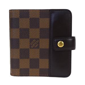 ルイ・ヴィトン(Louis Vuitton) ダミエ コンパクト ジップ  N61668 レザー 財布(二つ折り) ブラウン