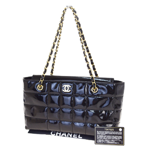 Chanel Chocolate Bar CClogo Chain Patent Leather Shoulder Bag Black