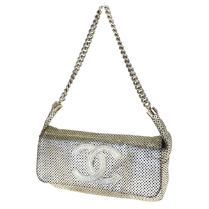 Chanel CClogo Punching Chain Leather Shoulder Bag Silver