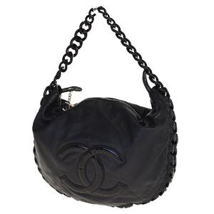 Chanel Luxury Line CClogo Chain Leather Shoulder Bag Black
