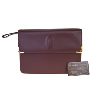Cartier Must Leather Clutch Bag Bordeaux