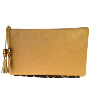 Gucci Bamboo Fringe Leather Clutch Bag Brown