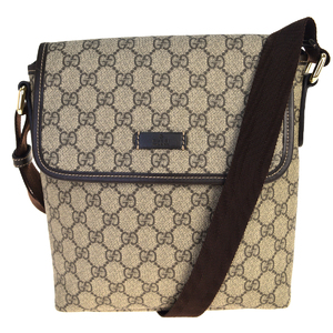 Gucci GG Pattern PVC,Leather Shoulder Bag Brown