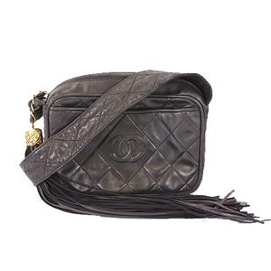 Chanel Matelasse Shoulder With Fringe Women's Leather Shoulder Bag Black