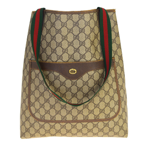 Gucci Sherry Line GG Pattern Interlocking PVC,Leather Shoulder Bag Brown