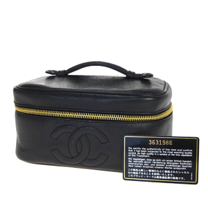 Chanel CClogo Caviar Skin Leather Vanity Bag Black
