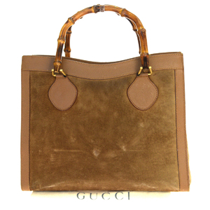Gucci Bamboo Suede,Leather Handbag Brown
