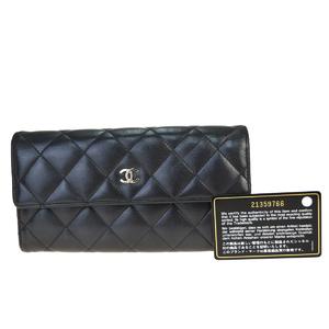 Chanel CClogo Leather Long Wallet (bi-fold) Black