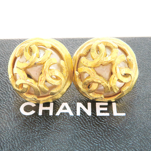 Chanel Triple Coco Artificial Pearl,Metal Earrings Gold