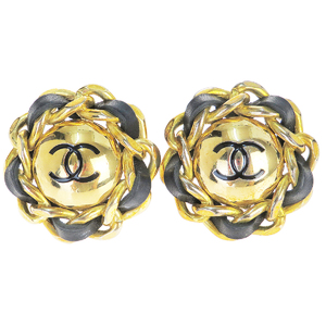 Chanel CClogo Leather,Metal Earrings Gold