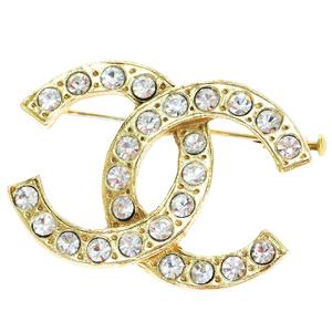 Chanel CClogo Metal Rhinestone Pin Brooch Gold
