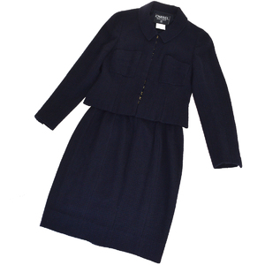Chanel Plain Skirt Suit (Navy)