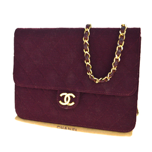 Chanel 2WAY CClogo Chain Canvas Shoulder Bag Bordeaux