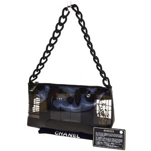 Chanel Chain Vinyl,Plastic Shoulder Bag Black