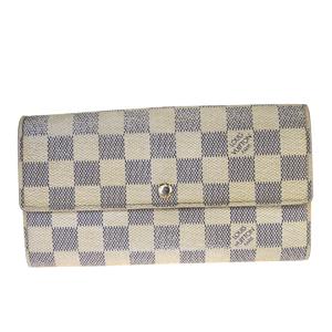 Louis Vuitton Damier Azur Porte-Fouille Sara N61735 Leather,PVC Long Wallet (bi-fold) White