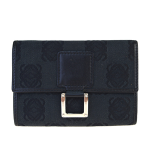Loewe Canvas,Leather Middle Wallet (tri-fold) Black