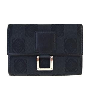 ロエベ(Loewe) キャンバス,レザー 中財布(三つ折り) ブラック
