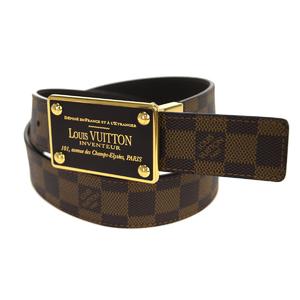 Louis Vuitton Damier Saint-tulle Envanteur M9677 Men's Leather Belt Brown 85