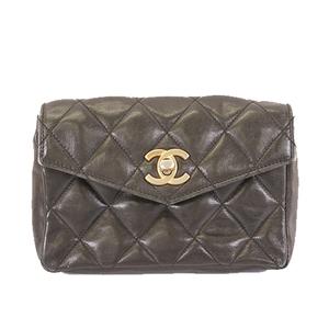 Auth Chanel Matelasse West Bag Women's Leather Fanny Pack Black