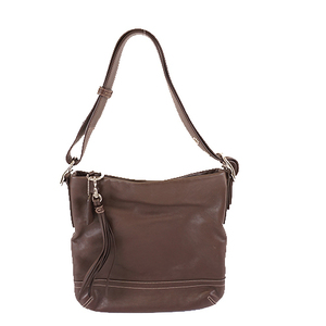Auth Coach F01415 Women's Leather Shoulder Bag Brown