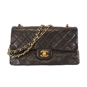 Auth Chanel Matelasse W Flap W Chain Shoulder Women's Leather Shoulder Bag Black