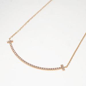 ティファニー ネックレス Tスマイル K18PG ピンクゴールド ダイヤモンド 2.4g