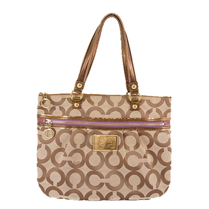 Auth Coach Op Art F15331 Canvas Shoulder Bag,Tote Bag Beige