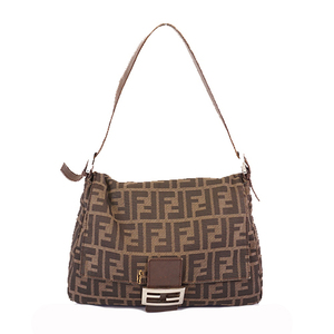 Auth Fendi Zucca Mamma Bucket Women's Canvas Handbag,Shoulder Bag Brown