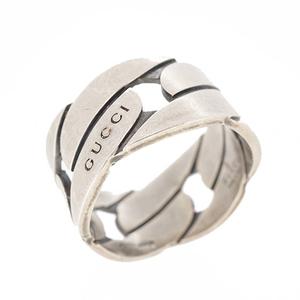 グッチ リング GUCCIロゴ シルバー925 ワイドタイプ 指輪