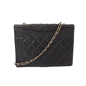 Auth Chanel Matelasse Chain Shoulder Bag Women's Leather Shoulder Bag Black