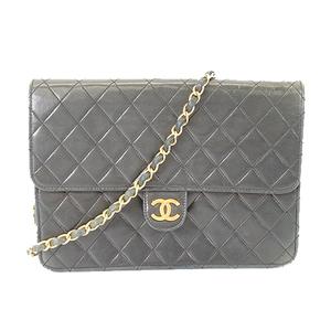 Auth Chanel Matelasse Women's Leather Shoulder Bag Black