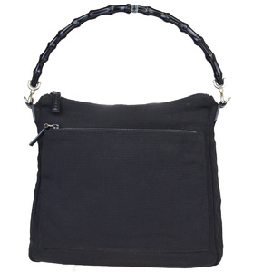 Gucci Bamboo Leather,Nylon Handbag Black